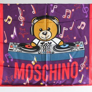 Moschino Bear DJ Music Note Print Silk Scarf